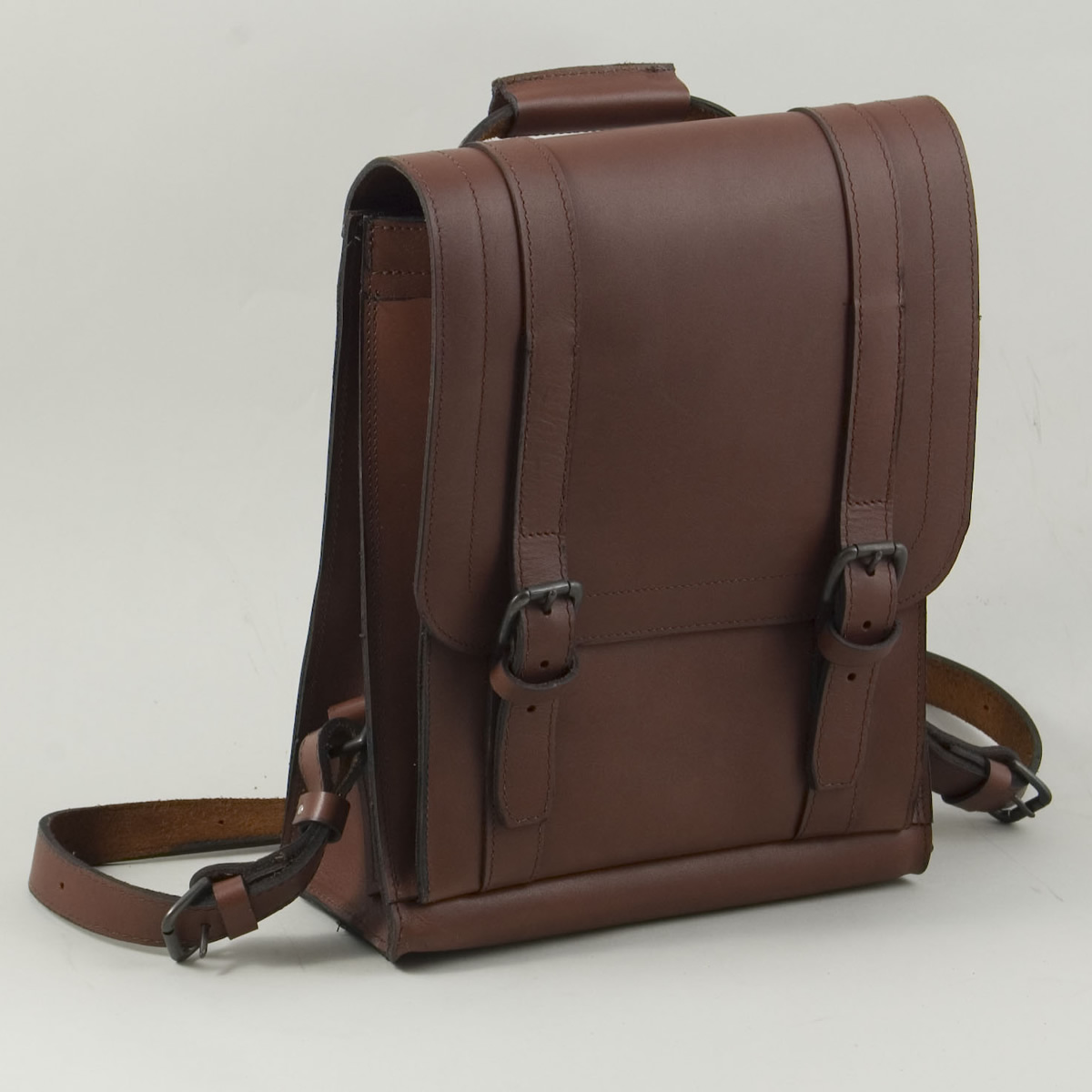 Small Handmade Leather Bookbag By Henry Tomkins